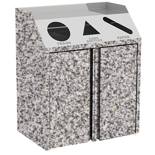 """Lakeside 4415 Stainless Steel Refuse / Recycle / Paper Station with Front Access and Gray Sand Laminate Finish - 37 1/2"""" x 23 1/4"""" x 45 1/2"""""""