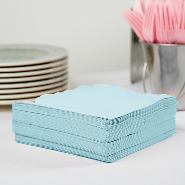 Creative Converting 58157B Pastel Blue 3-Ply 1/4 Fold Luncheon Napkin - 500/Case Main Image 2