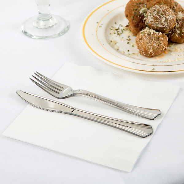 Creative Converting 58000B White 3-Ply 1/4 Fold Luncheon Napkin - 500/Case