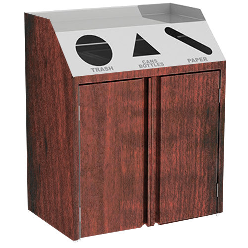 """Lakeside 4415 Stainless Steel Refuse / Recycle / Paper Station with Front Access and Red Maple Laminate Finish - 37 1/2"""" x 23 1/4"""" x 45 1/2"""""""