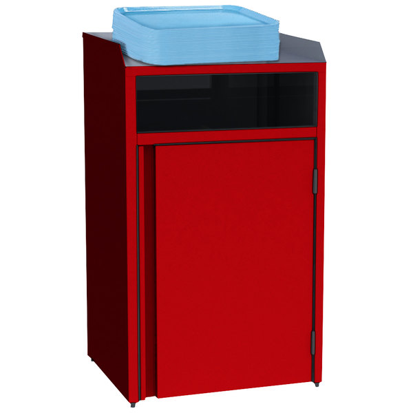 """Lakeside 4410RD Stainless Steel Refuse Station with Front Access and Red Laminate Finish - 26 1/2"""" x 23 1/4"""" x 45 1/2"""""""