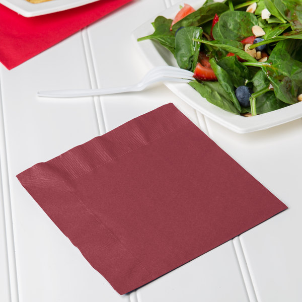 Creative Converting 663122B Burgundy 2-Ply 1/4 Fold Luncheon Napkin - 600/Case