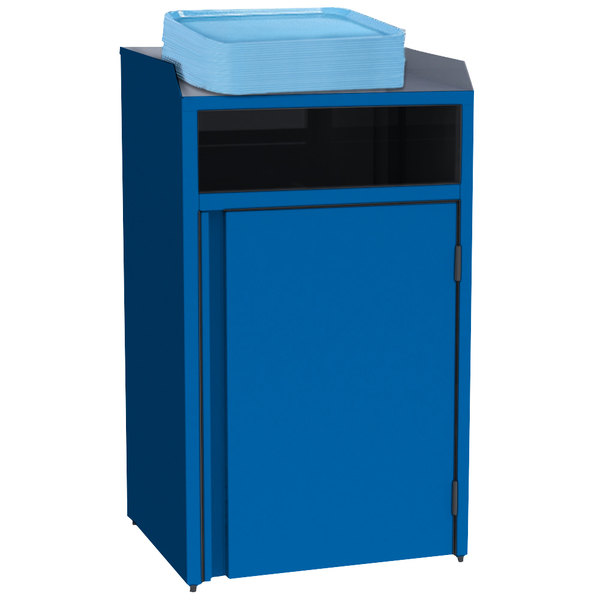 "Lakeside 4410 Stainless Steel Refuse Station with Front Access and Royal Blue Laminate Finish - 26 1/2"" x 23 1/4"" x 45 1/2"""