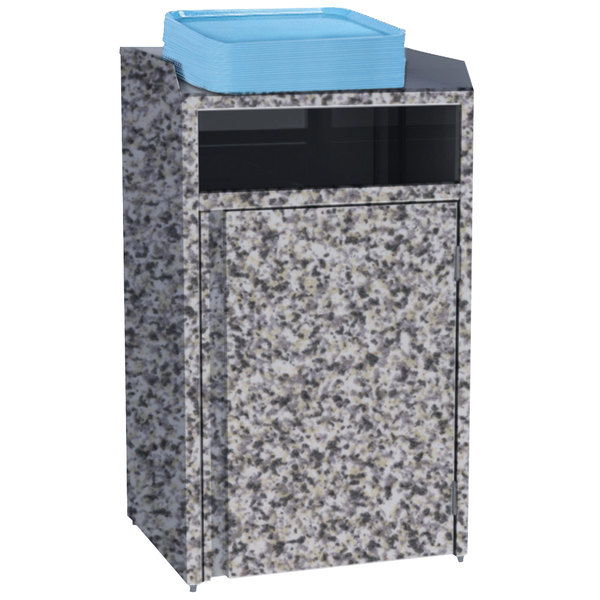 """Lakeside 4410GS Stainless Steel Refuse Station with Front Access and Gray Sand Laminate Finish - 26 1/2"""" x 23 1/4"""" x 45 1/2"""""""
