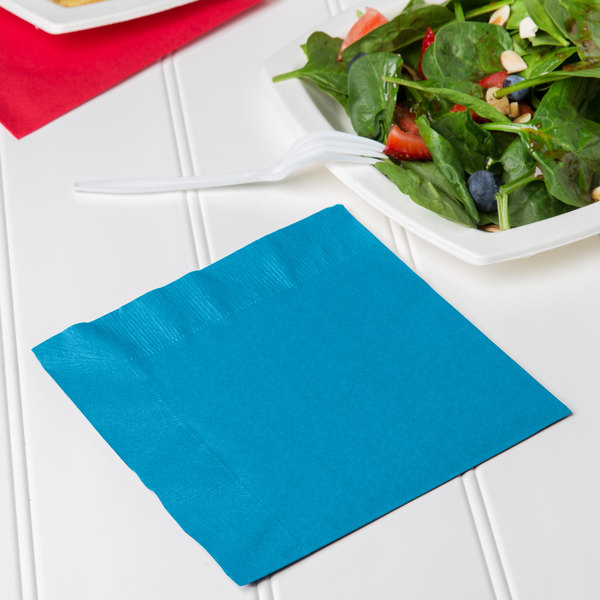 Creative Converting 663131B Turquoise Blue 2-Ply 1/4 Fold Luncheon Napkin - 600/Case Main Image 3