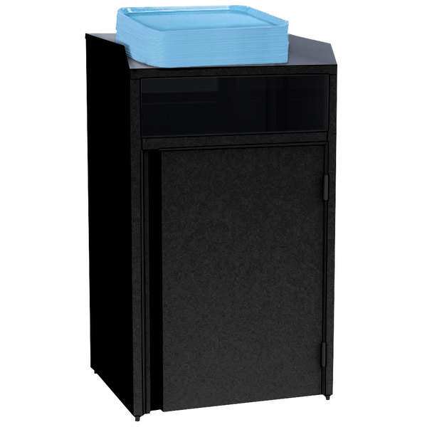 """Lakeside 4410B Stainless Steel Refuse Station with Front Access and Black Laminate Finish - 26 1/2"""" x 23 1/4"""" x 45 1/2"""" Main Image 1"""