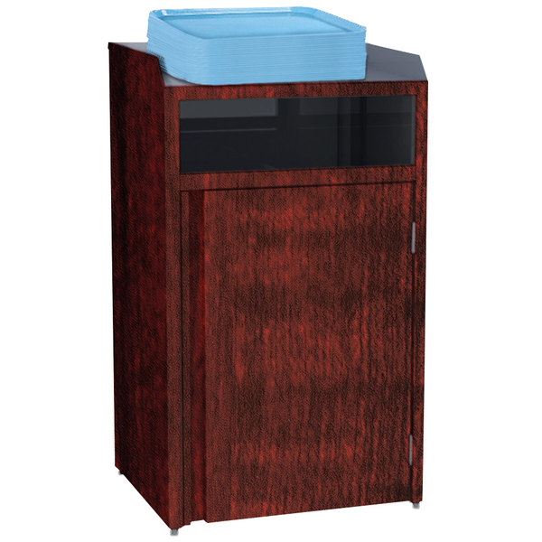 """Lakeside 4410RM Stainless Steel Refuse Station with Front Access and Red Maple Laminate Finish - 26 1/2"""" x 23 1/4"""" x 45 1/2"""""""