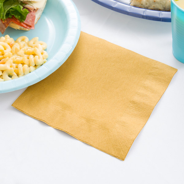 Creative Converting 663276B Glittering Gold 2-Ply 1/4 Fold Luncheon Napkin - 600/Case Main Image 3