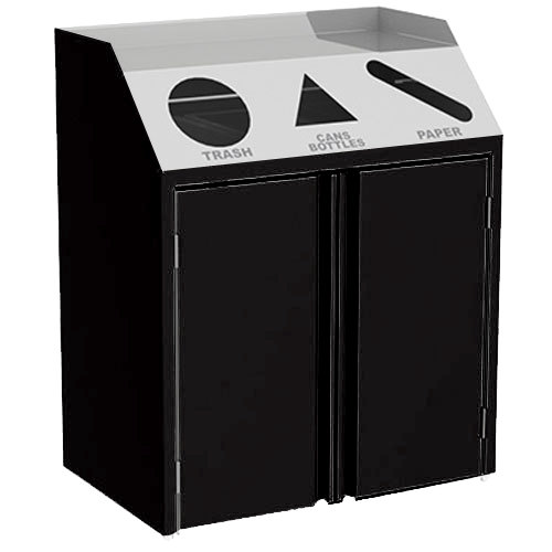 "Lakeside 4415 Stainless Steel Refuse / Recycle / Paper Station with Front Access and Black Laminate Finish - 37 1/2"" x 23 1/4"" x 45 1/2"""
