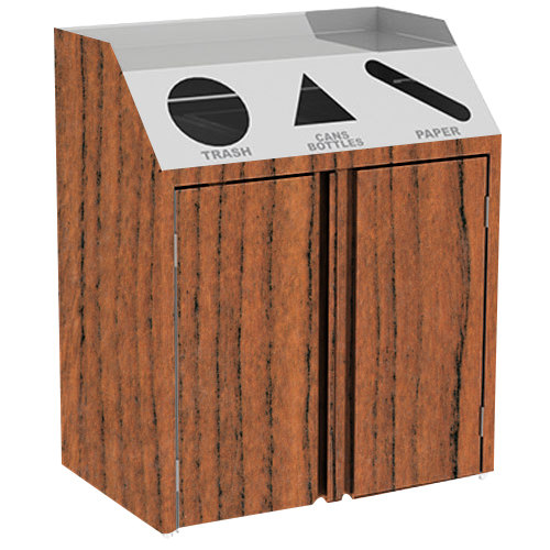 """Lakeside 4415VC Stainless Steel Refuse / Recycle / Paper Station with Front Access and Victorian Cherry Laminate Finish - 37 1/2"""" x 23 1/4"""" x 45 1/2"""""""