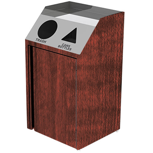 "Lakeside 4412RM Stainless Steel Refuse / Recycling Station with Front Access and Red Maple Laminate Finish - 26 1/2"" x 23 1/4"" x 45 1/2"""