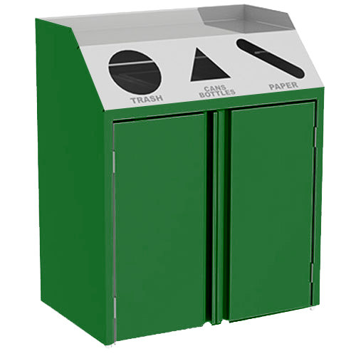 "Lakeside 4415G Stainless Steel Refuse / Recycle / Paper Station with Front Access and Green Laminate Finish - 37 1/2"" x 23 1/4"" x 45 1/2"""