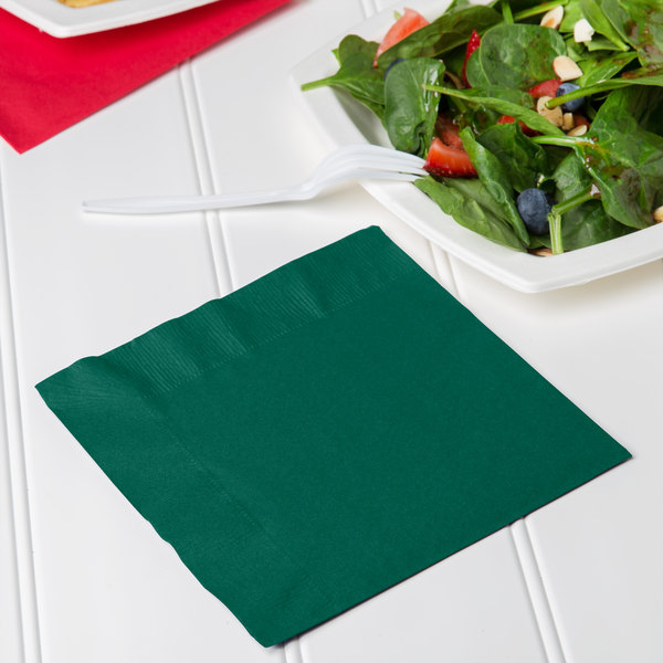 Creative Converting 663124B Hunter Green 2-Ply 1/4 Fold Luncheon Napkin - 600/Case Main Image 3