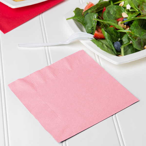 Creative Converting 139190135 Classic Pink 2-Ply 1/4 Fold Luncheon Napkin - 600/Case