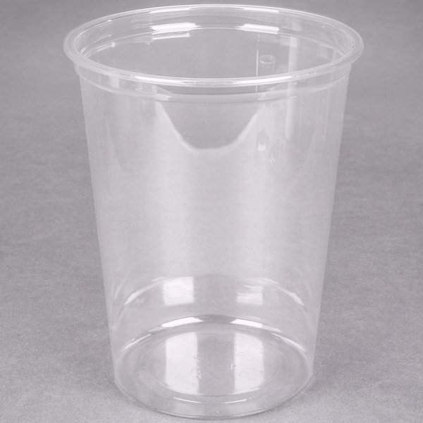 Choice 32 oz. Ultra Clear Plastic Round Deli Container - 500/Case