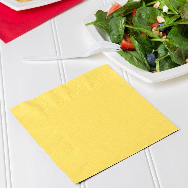 Creative Converting 139180135 Mimosa Yellow 2-Ply 1/4 Fold Luncheon Napkin - 600/Case