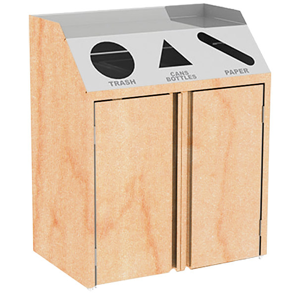 "Lakeside 4415 Stainless Steel Refuse / Recycle / Paper Station with Front Access and Hard Rock Maple Laminate Finish - 37 1/2"" x 23 1/4"" x 45 1/2"""