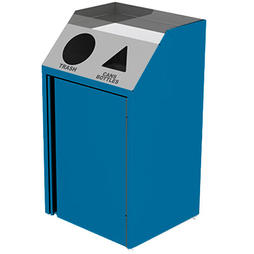 """Lakeside 4412 Stainless Steel Refuse / Recycling Station with Front Access and Royal Blue Laminate Finish - 26 1/2"""" x 23 1/4"""" x 45 1/2"""""""