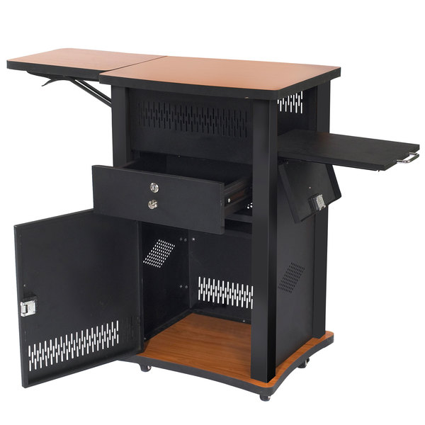 Oklahoma Sound Wzd Cherry Colored Wizard Lectern With Swing Up Shelf And Lockable Cabinet