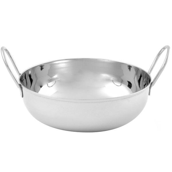 "American Metalcraft BD72 40 oz. Stainless Steel Balti Dish - 7"" x 2 1/4"""