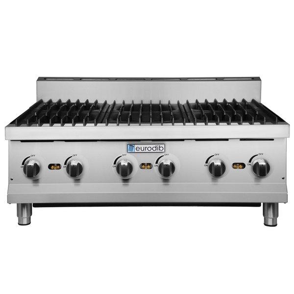 "Eurodib HP636 36"" Six Burner Gas Countertop Range - 180,000 BTU"