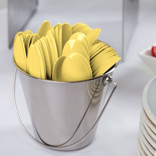 """Creative Converting 10560 6 1/8"""" Mimosa Yellow Heavy Weight Plastic Spoon - 288/Case"""