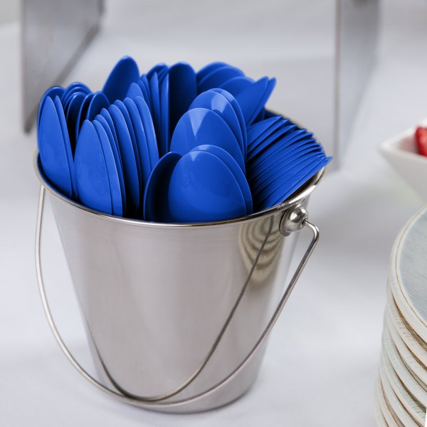 """Creative Converting 11097 6 1/8"""" Cobalt Blue Heavy Weight Plastic Spoon - 288/Case Main Image 2"""