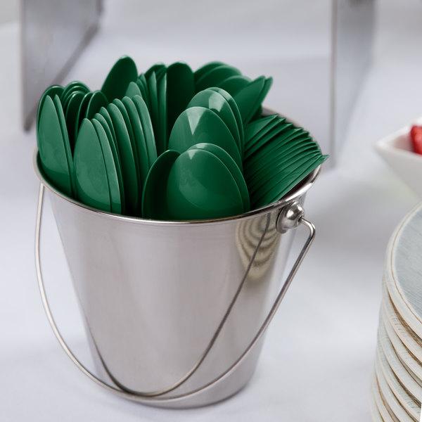 "Creative Converting 11924 6 1/8"" Hunter Green Heavy Weight Plastic Spoon - 288/Case"