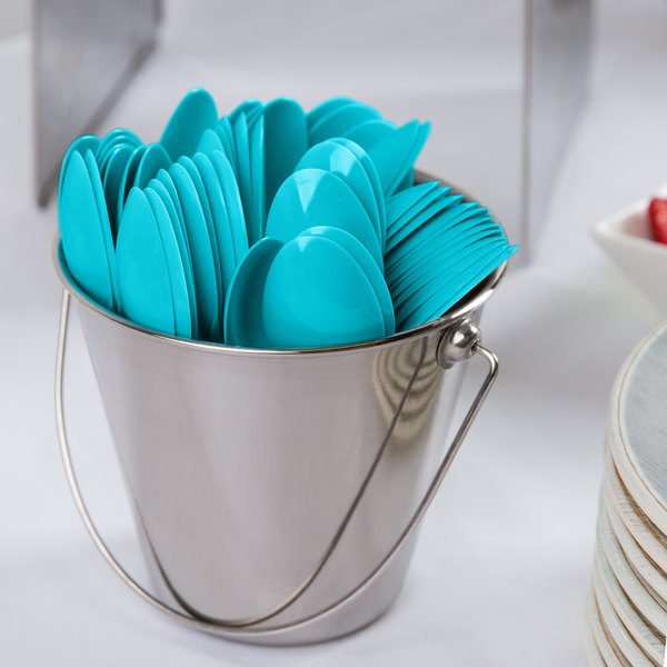 "Creative Converting 010619B 6 1/8"" Bermuda Blue Heavy Weight Plastic Spoon - 600/Case"