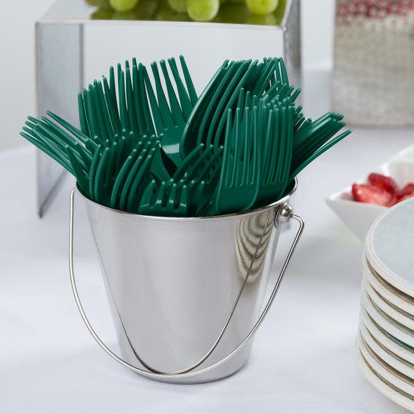 "Creative Converting 019124 7 1/8"" Hunter Green Disposable Plastic Fork - 288/Case"