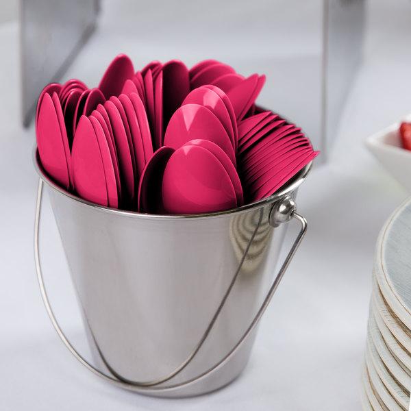 "Creative Converting 010591B 6 1/8"" Hot Magenta Pink Heavy Weight Plastic Spoon - 600/Case Main Image 2"