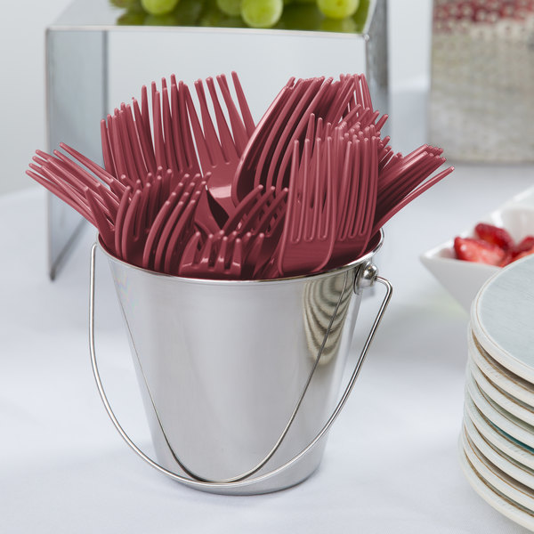 "Creative Converting 010122 7 1/8"" Burgundy Disposable Plastic Fork - 288/Case"