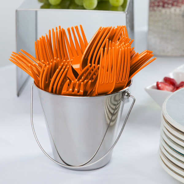 "Creative Converting 010613B 7 1/8"" Sunkissed Orange Disposable Plastic Fork - 600/Case"