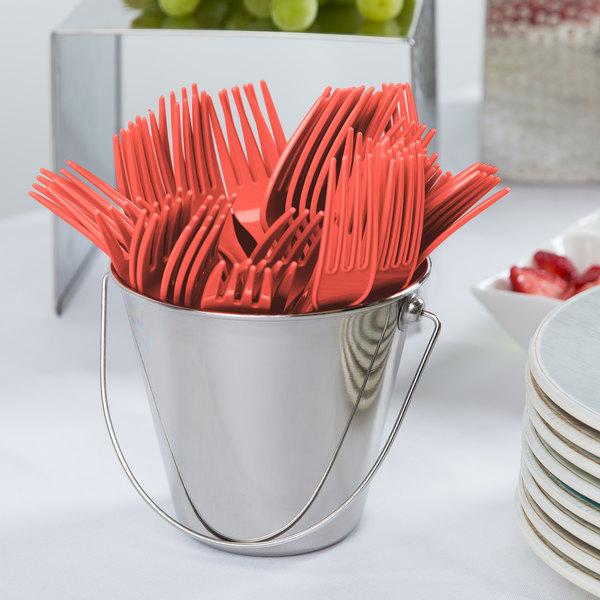 "Creative Converting 019146 7 1/8"" Coral Orange Disposable Plastic Fork - 288/Case Main Image 2"