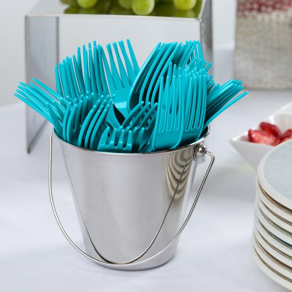 "Creative Converting 010617B 7 1/8"" Bermuda Blue Disposable Plastic Fork - 600/Case"