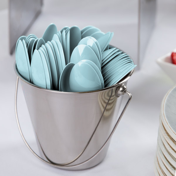 "Creative Converting 010607B 6 1/8"" Pastel Blue Heavy Weight Plastic Spoon - 600/Case"