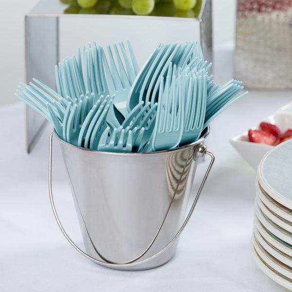 "Creative Converting 010605B 7 1/8"" Pastel Blue Disposable Plastic Fork - 600/Case"