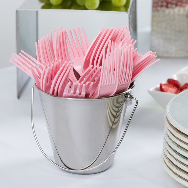 """Creative Converting 010468B 7 1/8"""" Classic Pink Disposable Plastic Fork - 600/Case"""