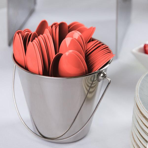"Creative Converting 18146 6 1/8"" Coral Orange Heavy Weight Plastic Spoon - 288/Case"