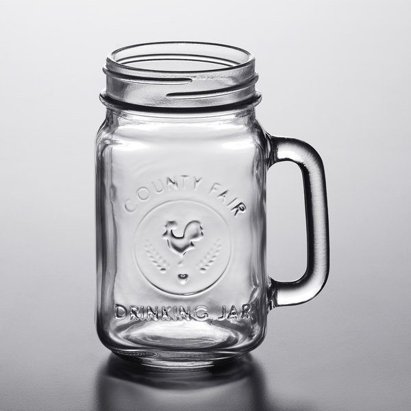 Acopa 16 Oz County Fair Mason Jar With Handle 12 Case