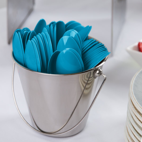 """Creative Converting 011931B 6 1/8"""" Turquoise Blue Heavy Weight Plastic Spoon - 600/Case"""