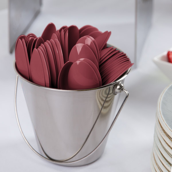 "Creative Converting 11922 6 1/8"" Burgundy Heavy Weight Plastic Spoon - 288/Case Main Image 2"