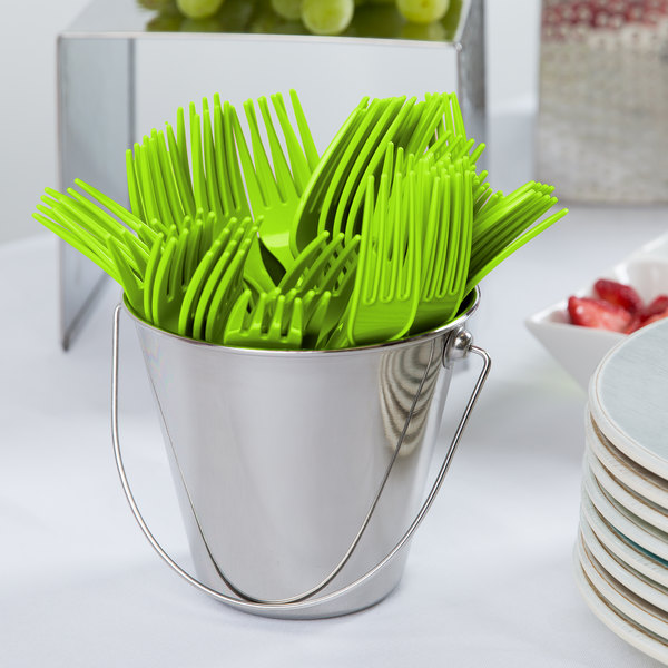 "Creative Converting 011123B 7 1/8"" Fresh Lime Green Disposable Plastic Fork - 600/Case"