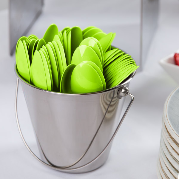 """Creative Converting 011923B 6 1/8"""" Fresh Lime Green Heavy Weight Plastic Spoon - 600/Case"""