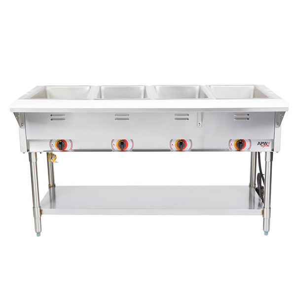 APW Wyott ST-4S Four Pan Exposed Stationary Steam Table with Stainless Steel Legs and Undershelf - 2000W - Open Well, 208V Main Image 1