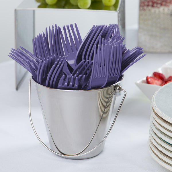 "Creative Converting 010466B 7 1/8"" Purple Disposable Plastic Fork - 600/Case Main Image 2"