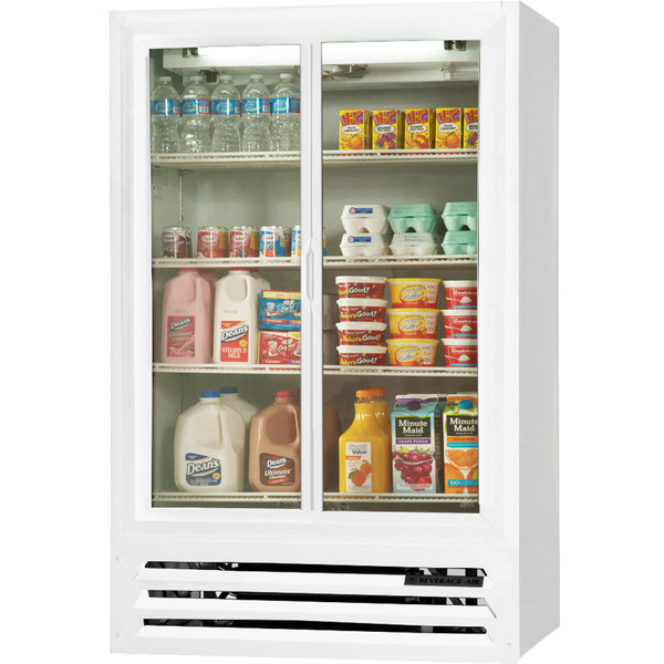 Beverage-Air LV17-1-W-HD White LumaVue 2 Hinged Glass Door Refrigerated Merchandiser - 17.5 Cu. Ft.
