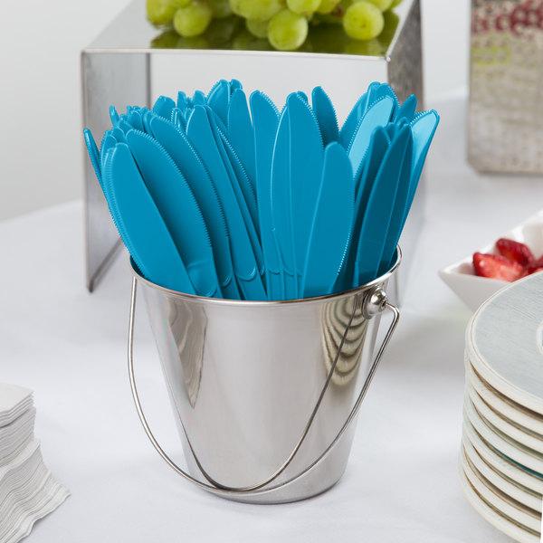 "Creative Converting 019931B 7 1/2"" Turquoise Blue Heavy Weight Premium Plastic Knife - 600/Case Main Image 2"