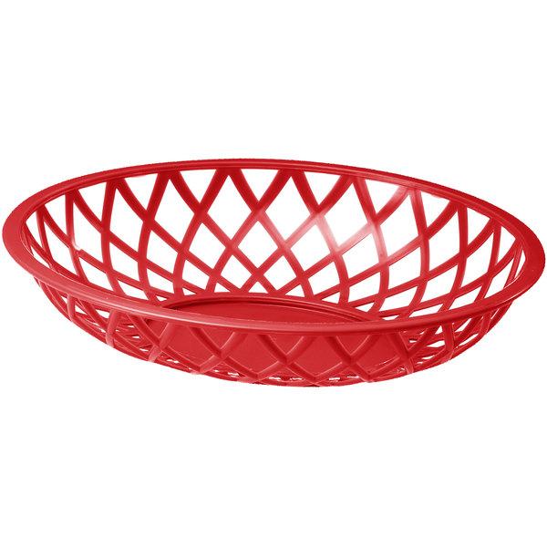 "Tablecraft 1072R 9"" x 7 1/2"" x 2"" Red Oval Plastic Fast Food Basket - 12/Pack"