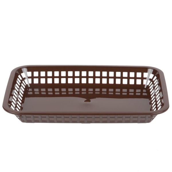 Tablecraft 1077BR Grande 10 3/4 inch x 7 3/4 inch x 1 1/2 inch Brown Rectangular Plastic Fast Food Basket - 12/Pack